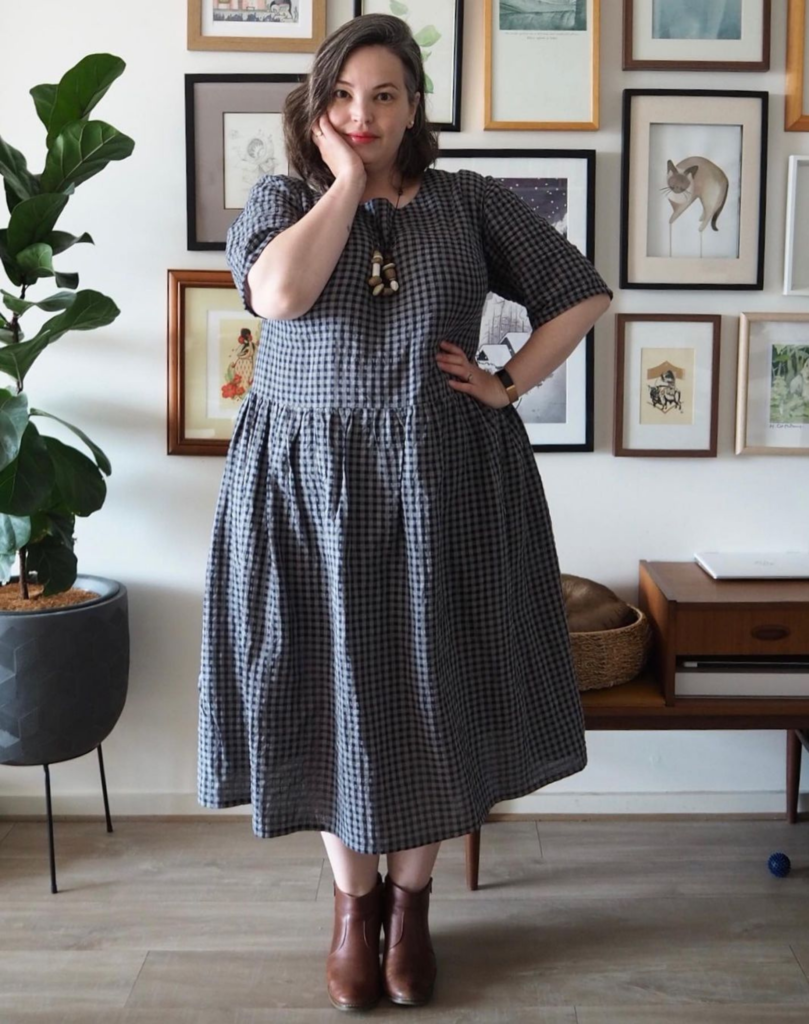 Lilli wearing our gorgeous Gingham Millican Frock Dress